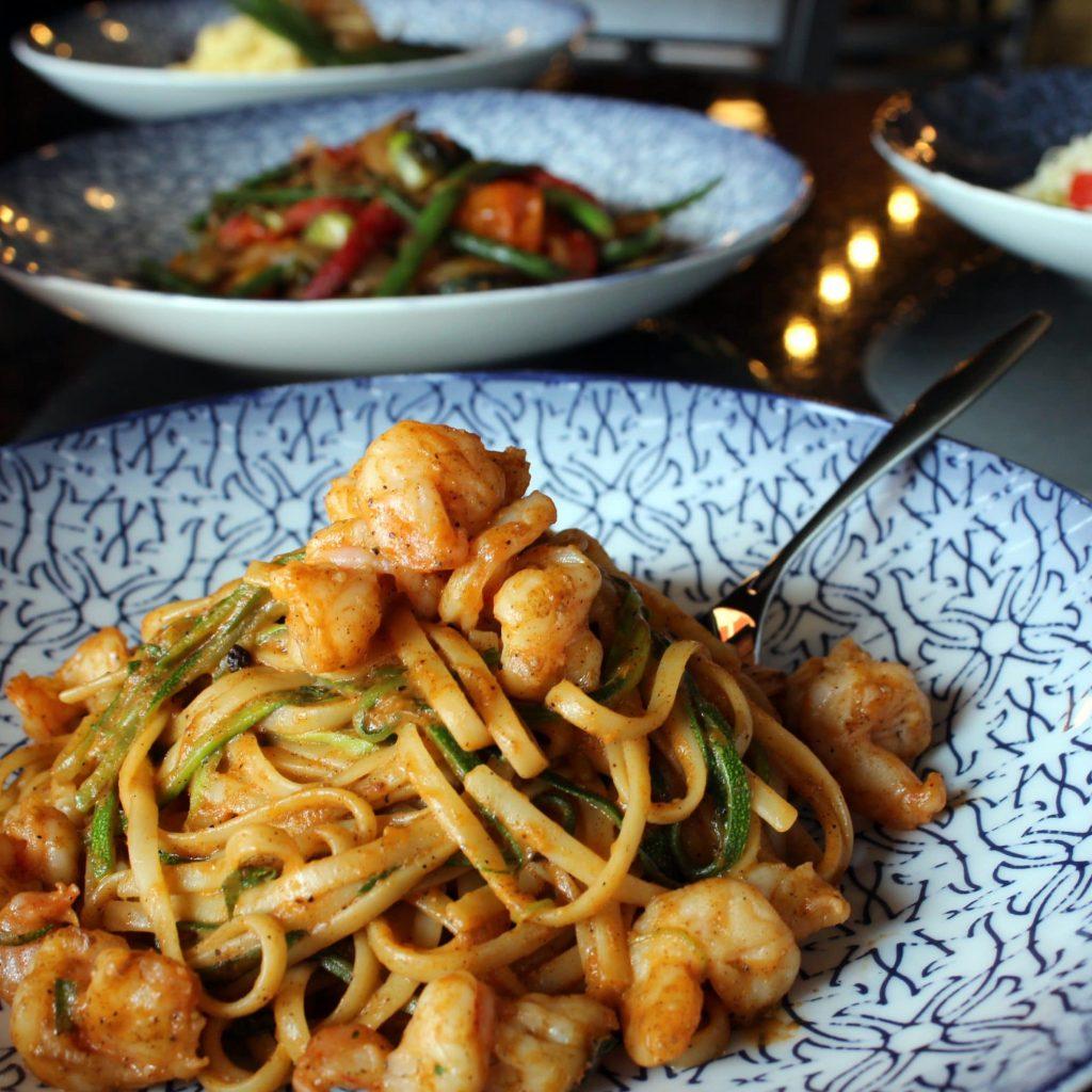 Shrimp Linguine with Zucchini & Roasted Tomato Sauce